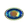 Resin Sew-on Piikki Stones 10pcs 20x30mm Oval Royal Blue Aurora Borealis